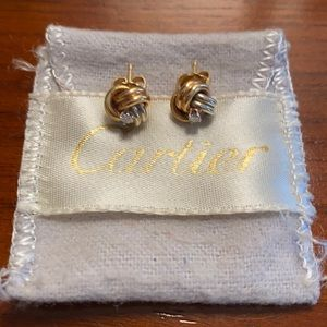 Cartier tri color gold knot earring with diamond